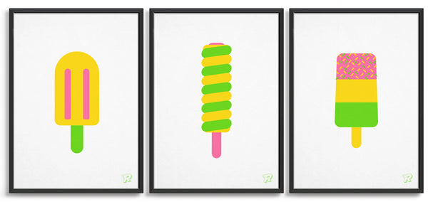 Set of 3 ice lolly prints in bright colours including twister lolly, fab ice lolly and split