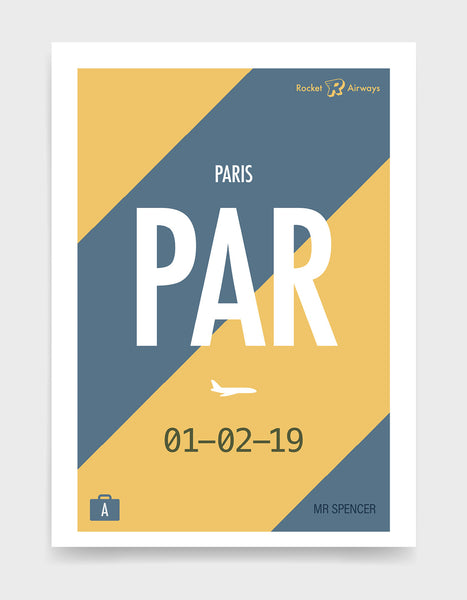 Retro travel destination print in blue & yellow with customisable details