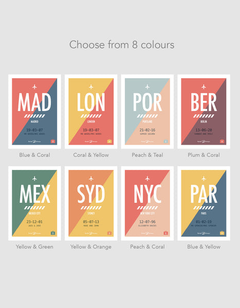 image showcasing all the colour options for the print design