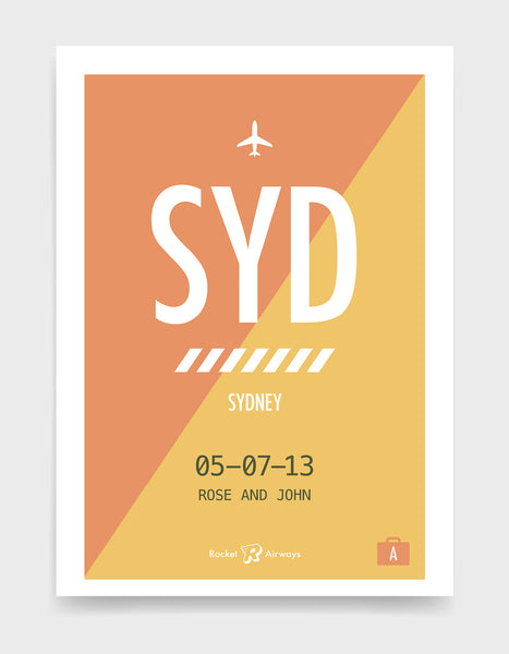Retro travel destination print in orange & yellow with customisable details