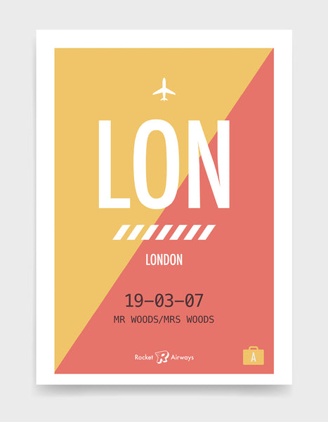 Retro travel destination print in coral & yellow with customisable details