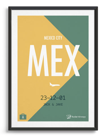 Retro travel destination print in green & yellow with customisable details