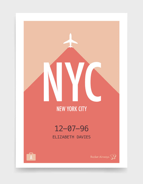 Retro travel destination print in coral & peach with customisable details