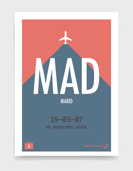 Retro travel destination print in blue & coral with customisable details