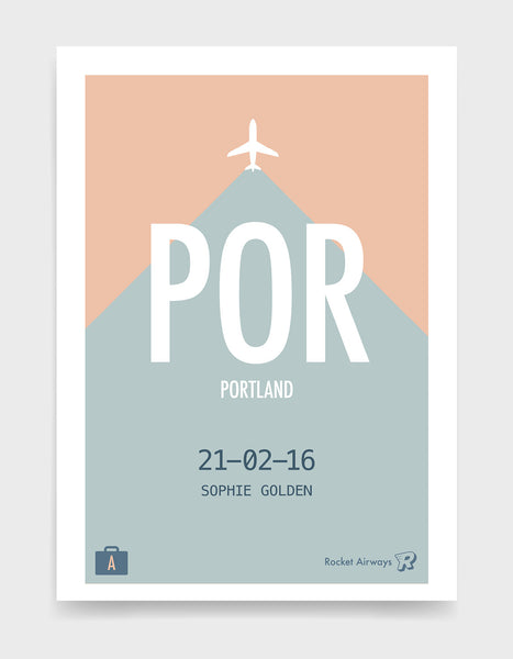 Retro travel destination print in teal & peach with customisable details