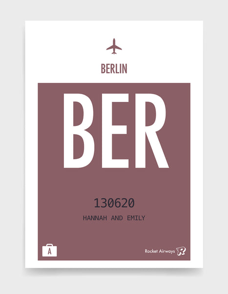 Custom retro vintage travel poster in plum with option to add destination airport, name, date and initials
