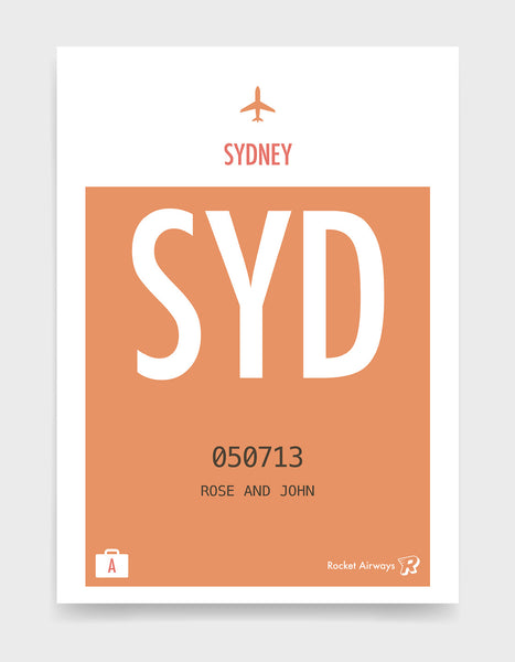 Custom retro vintage travel poster in orange with option to add destination airport, name, date and initials