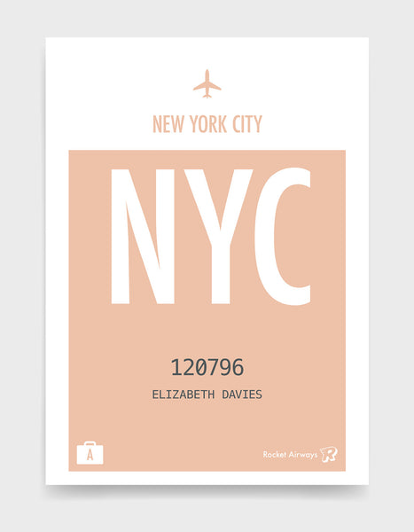 Custom retro vintage travel poster in peach with option to add destination airport, name, date and initials