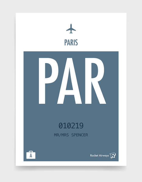 Custom retro vintage travel poster in teal with option to add destination airport, name, date and initials