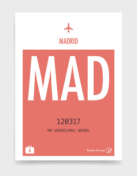 Custom retro vintage travel poster in coral with option to add destination airport, name, date and initials