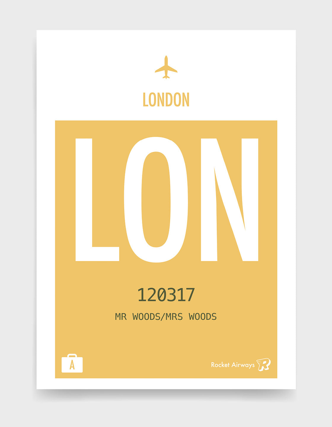Custom retro vintage travel poster in yellow with option to add destination airport, name, date and initials