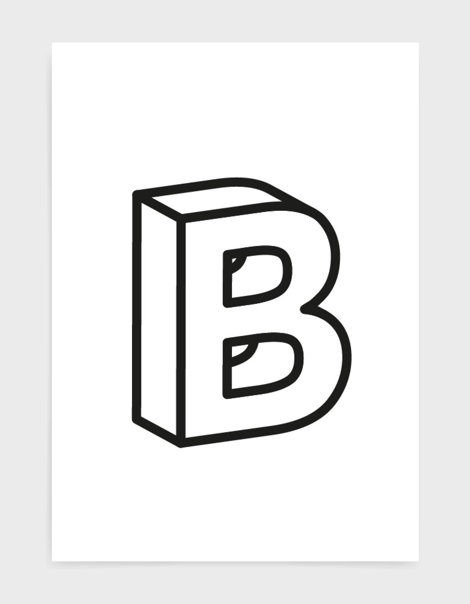monochrome typography alphabet print depicting the letter B in 3D black type