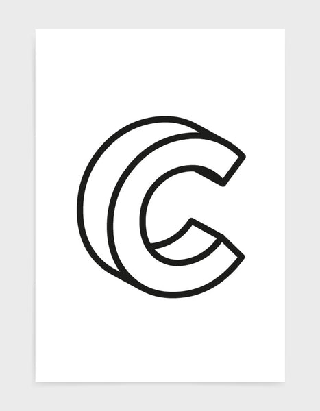 monochrome typography alphabet print depicting the letter C in 3D black type