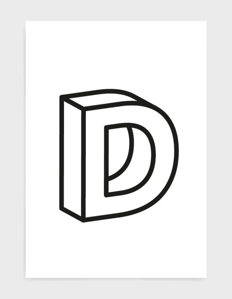 monochrome typography alphabet print depicting the letter D in 3D black type