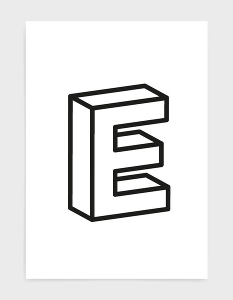 monochrome typography alphabet print depicting the letter E in 3D black type