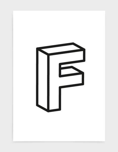 monochrome typography alphabet print depicting the letter F in 3D black type