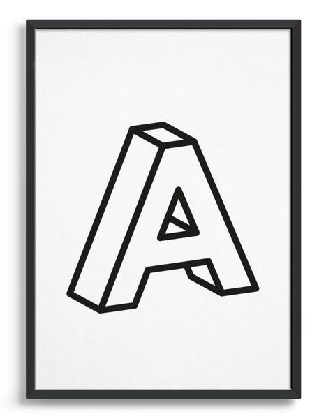 monochrome typography alphabet print depicting the letter A in 3D black type