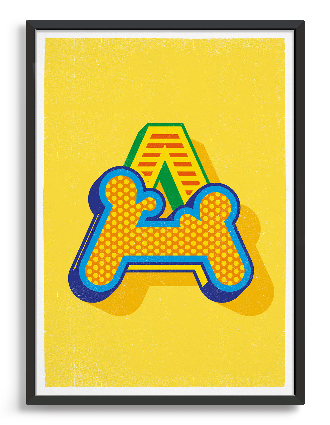 Bold yellow typography print featuring the initial of your choice in a custom circus style font