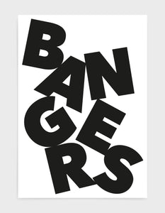 typography art print of the word Bangers in black text against a white background