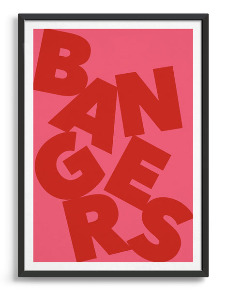 Framed typography art print of the word Bangers in red text against a pink background