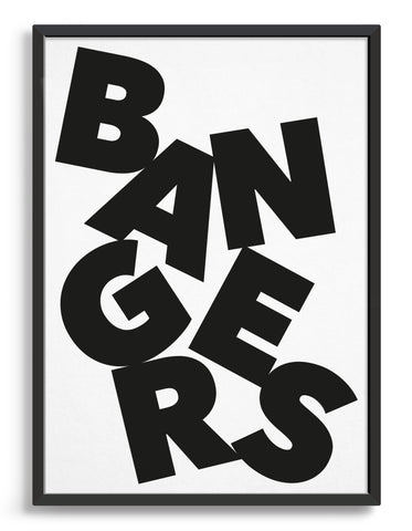 Framed typography art print of the word Bangers in black text against a white background