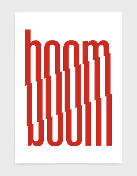 typography art print of the word boom in red text against a white background