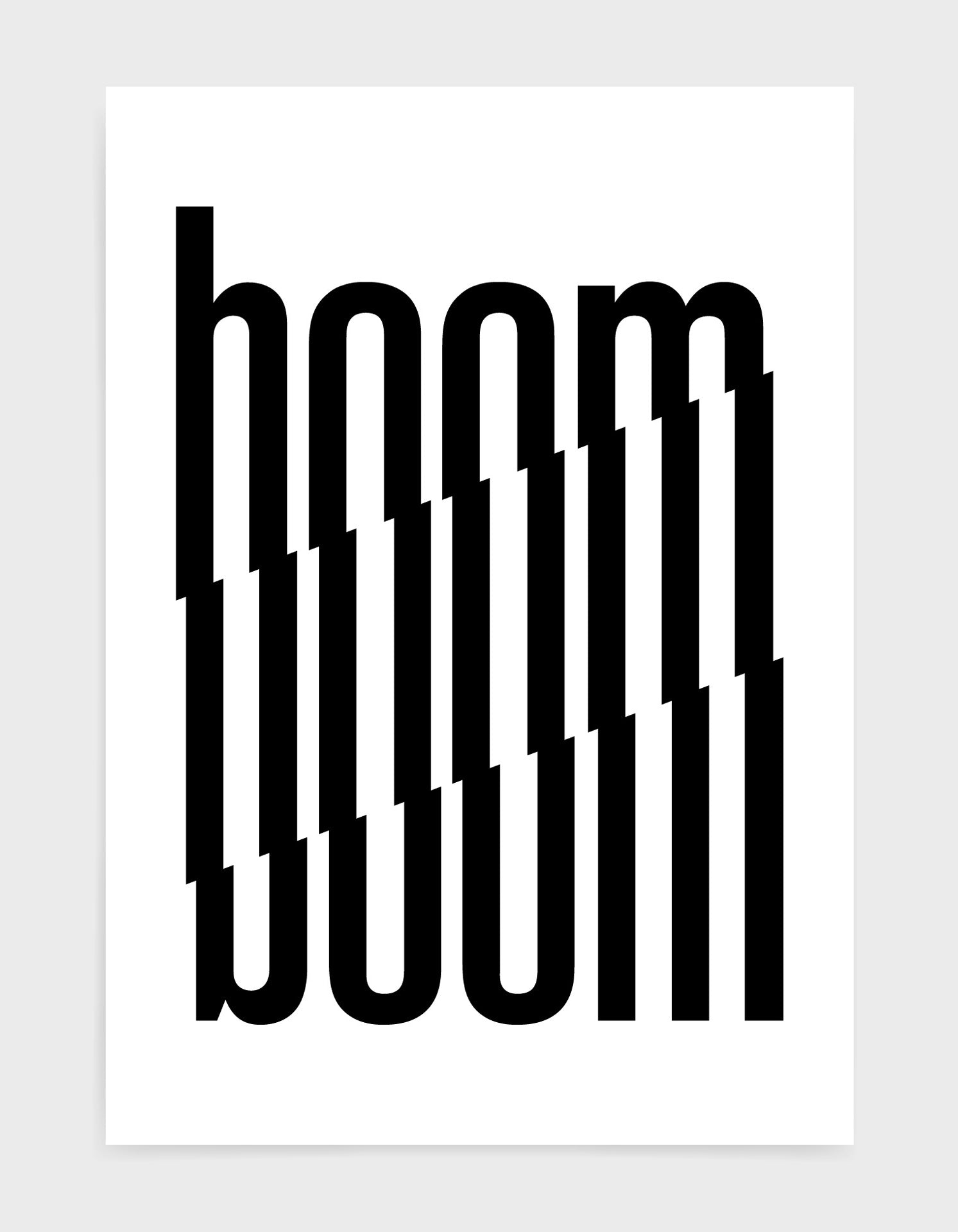 typography art print of the word boom in black text against a white background