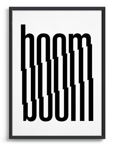 Framed typography art print of the word boom in black text against a white background