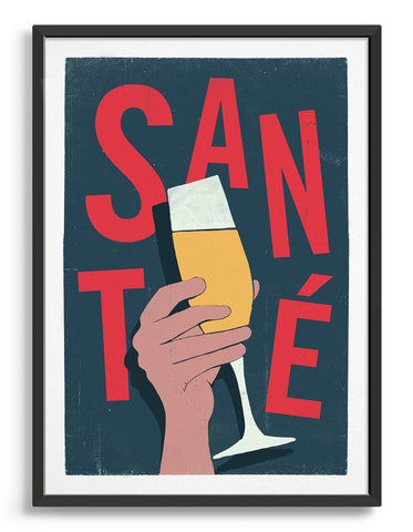 sante typography print with hand holding glass of fizz. text in red against a dark grey background