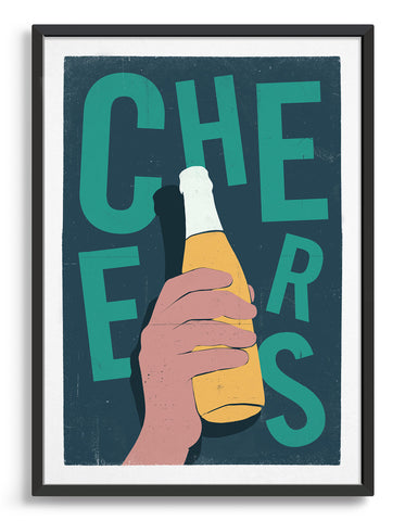 Print depicts a hand holding a bottle of beer in a 3d effect over text which says cheers in green type against a dark green background