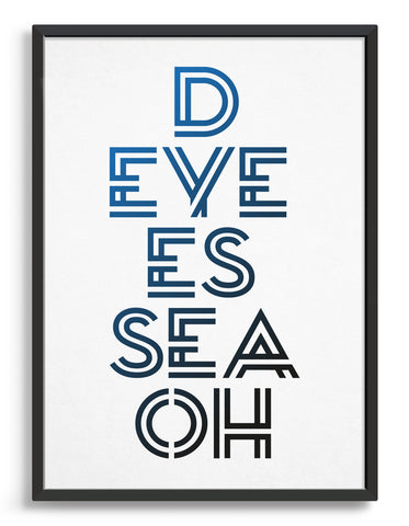 typography art print with disco spelled out d eye es sea oh on a white background