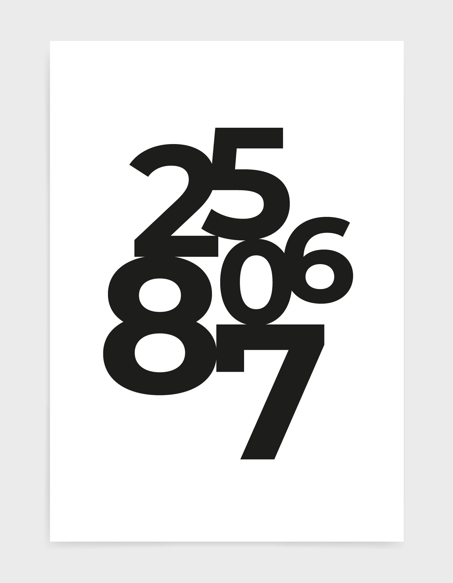 typography art print of personalised date in black text against a white background