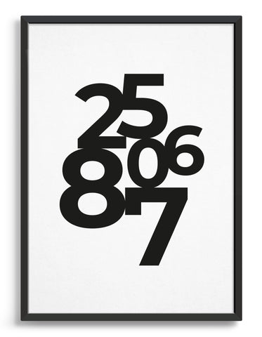 Framed typography art print of personalised date in black text against a white background