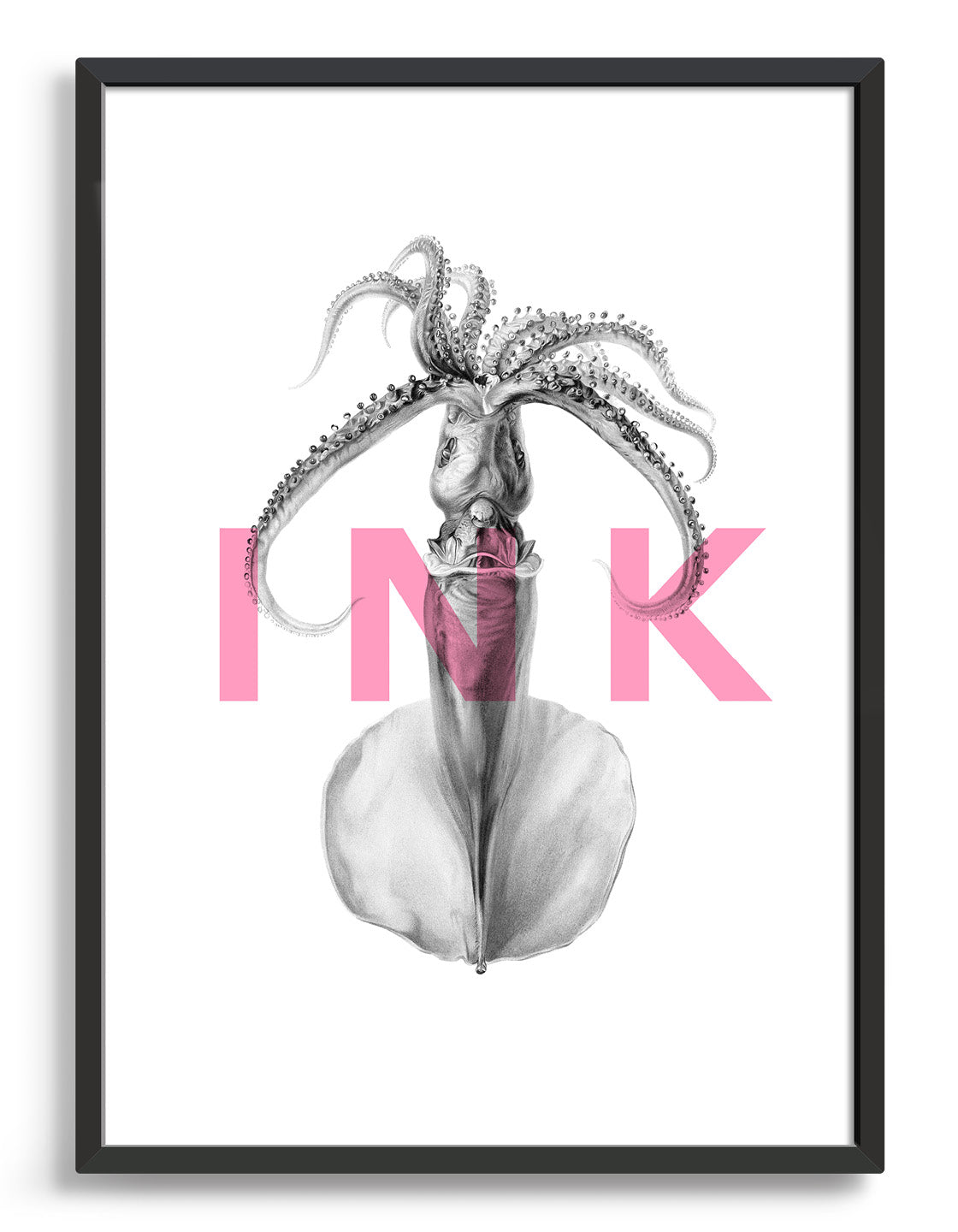 squid ink modern typography print. The word ink in pink text written horizontally over an image of a squid