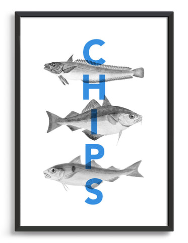 Fish and chips typography print - features the text chips in blue horizontally over a black line drawing of three fish