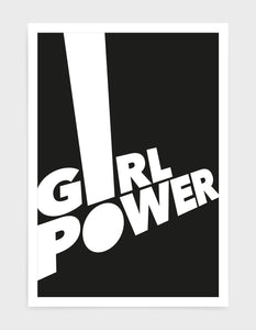 typography art print of the word girl power in white text against a black background