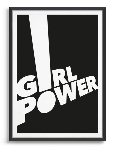 framed typography art print of the word girl power in white text against a black background