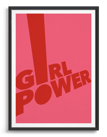 Framed typography art print of the word girl power in red text against a pink background