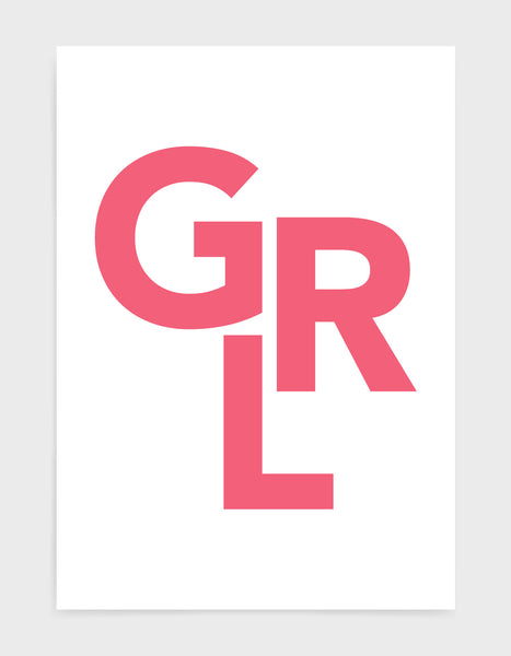 typography art print of the word GRL in pink text against a white background