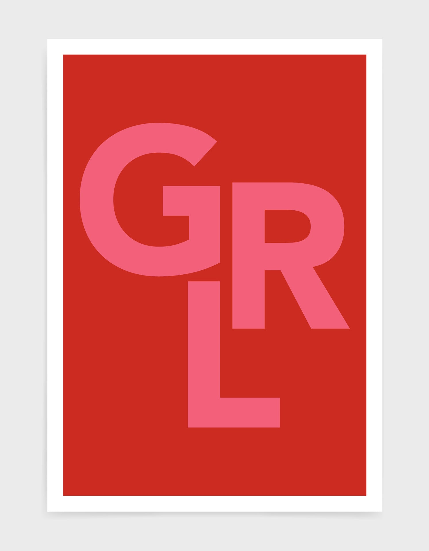 typography art print of the word GRL in pink text against a red background