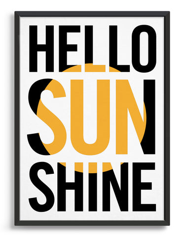 typography art print with hello sunshine in black against a white background with yellow sun