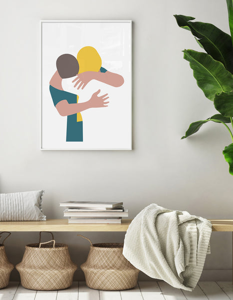 Couple embrace