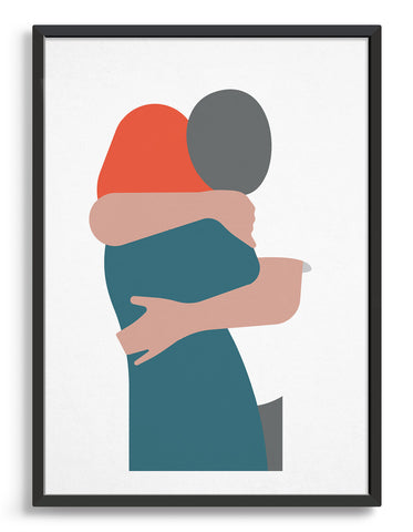 White art print depicting a woman with red hair in an embrace with a man wearing a white tshirt leaning over her shoulder a couple hugging.
