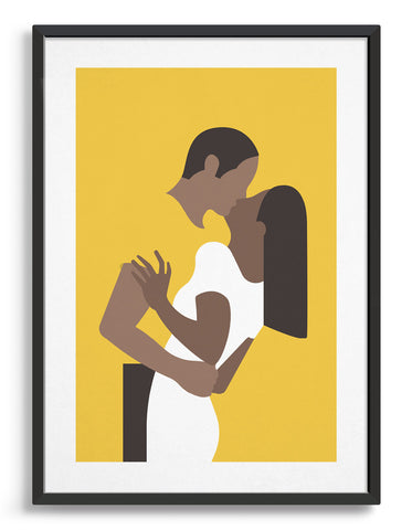 Yellow poster print depicts a couple in an embrace kissing. The woman is on the right wearing a white dress and the man's yellow t-shirt blends with the background
