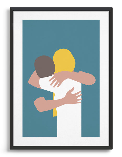A minimal design art print of a couple embracing against a blue background. The girl has long blond hair and is wearing a white top, the man leans into her neck and wear as teal blue t-shirt
