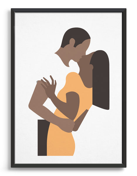 White poster print depicts a couple in an embrace kissing. The woman is on the right wearing a yellow dress and the man's white t-shirt blends with the background