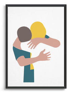 A minimal design art print of a couple embracing against a white background. The girl has long blond hair and is wearing a white top, the man leans into her neck and wear as teal blue t-shirt