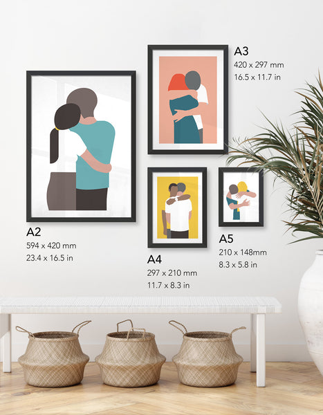 Image shows the different sizes of prints available as well as the variety of love designs in store