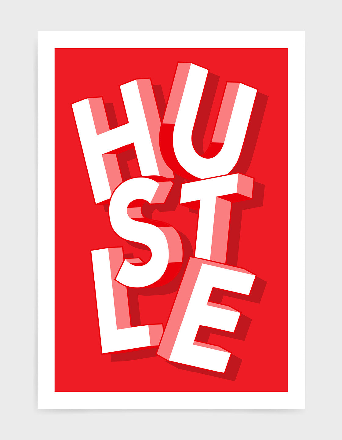 Bold red background with the word hustle in jumbled giant white typography