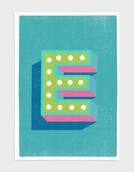 Alphabet print in lights on font against a blue background - letter e